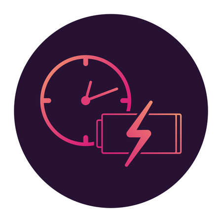 Plane clock icon gradient.Passenger jet .Flight status sign. 向量圖像