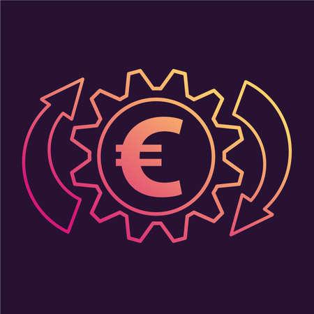 Convert euro exchange icon. Money transfer.Mobile application.
