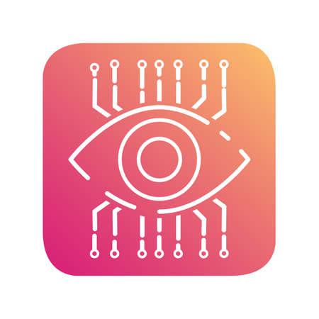 Digital internet vision. Security technology. Cyber eye surveillance.