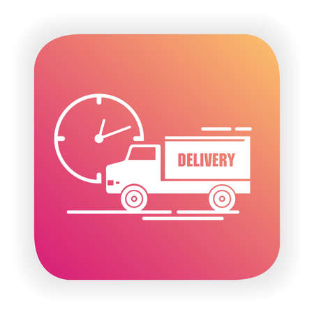 Express delivery service.Delivery truck.Fast shipping.Timer icon.Vehicle side view.