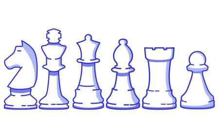 Chess figure set. Pawn,rook,bishop,queen,horse,king Flat vector line art. 向量圖像