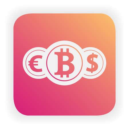 Convert dollar, euro exchange icon.Money transfer.Bitcoin cryptocurrency mining.