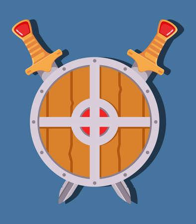 Medieval sword shield. Game weapon cartoon.Flat vector.