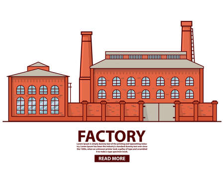 Industrial factory warehouse .Factory building.Flat vector.Old vintage plant. 向量圖像