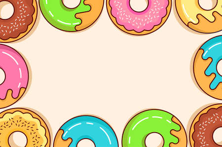 Donuts space for text.Top view.Chocolate, strawberry, vanilla glaze pastries.Concept design banner.