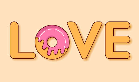Donut s glaze.Love donut.Sweet roll.Flat vector. Concept of a romantic festive card, banner.