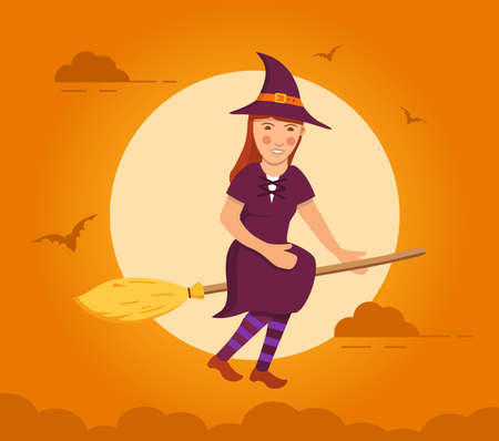 Witch flying on broomstick background of a full moon. Holiday Halloween bat flat vector.