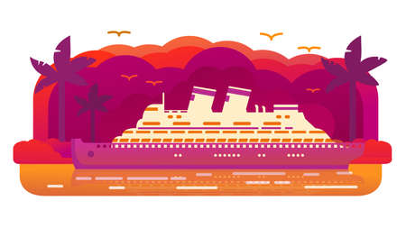 Cruise ship old retro.Passenger ocean liner. Tropical island of a palm tree sunset.