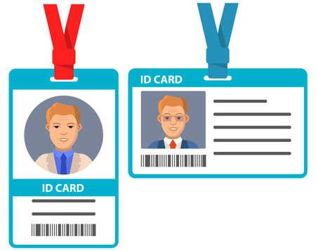 Id card photo templates.Cartoon businessman.Identity card.Young man.