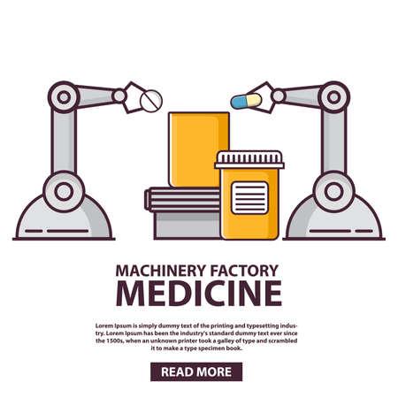 Medical laboratory. Robot arm pack medicine.Factory line. 向量圖像