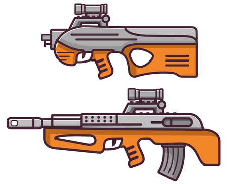 Firearms bull pup rifle.Weapons guns.Set sub machine gun modern assault.
