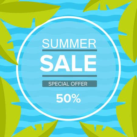 Summer sale banner. Tropical palm leaves. Blue sea wave. Illusztráció