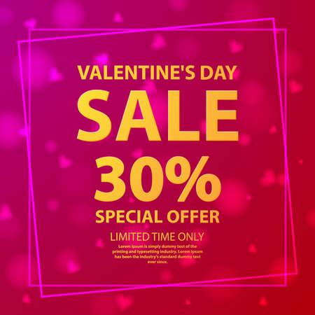 Valentine s day sale offer 30 .Shop market poster. Illusztráció
