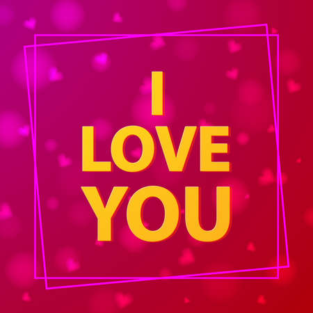 I love you.Pink background with hearts.Festive decor for St. Valentine s Day.