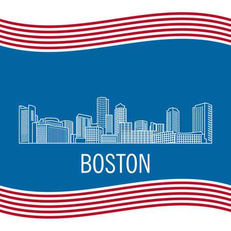City landscape of Boston in linear flat style on a black background. Vettoriali