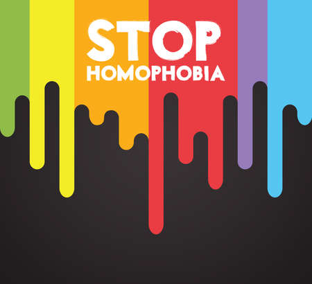 Vector an illustration with the inscription Stop Homophobia.card for the International Day Against Homophobia. Vettoriali