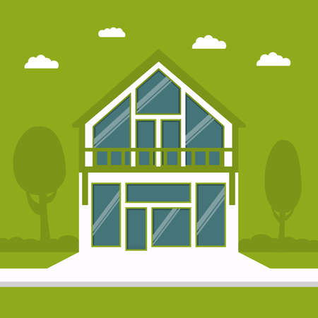 Country cottage in flat style a vector on a green background. Eco-friendly House of the future.