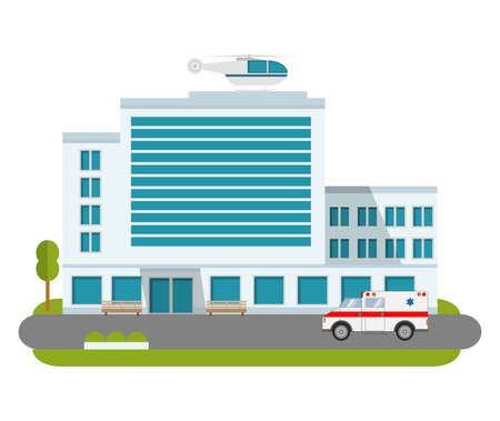 City hospital building cartoon modern with ambulance flat style and the car and the helicopter of medical care.
