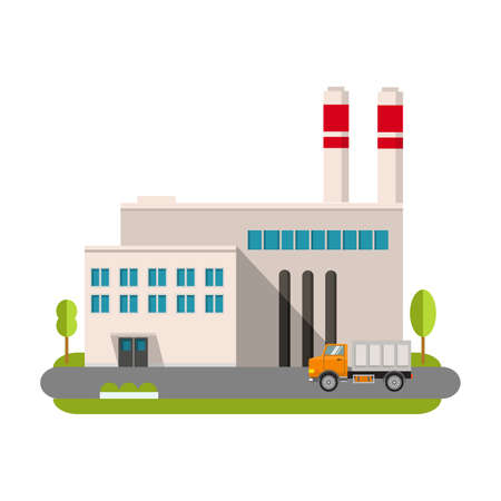Industrial factory in flat style a vector an illustration.Plant or Factory Building. road tree window facade.