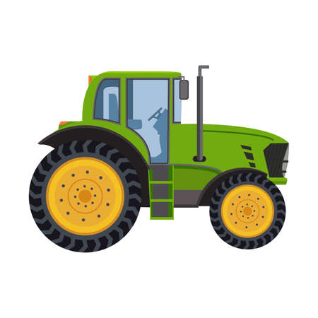 The tractor of green color a vector in flat style isolated on a white background.