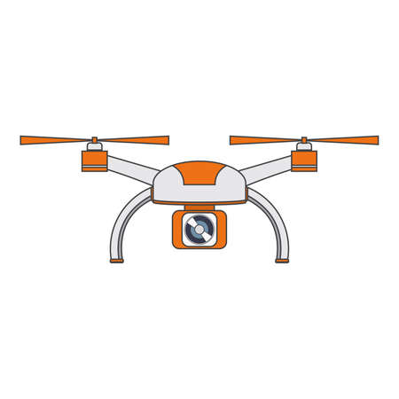 The drone with propellers and the suspended digital camera linear flat a vector.