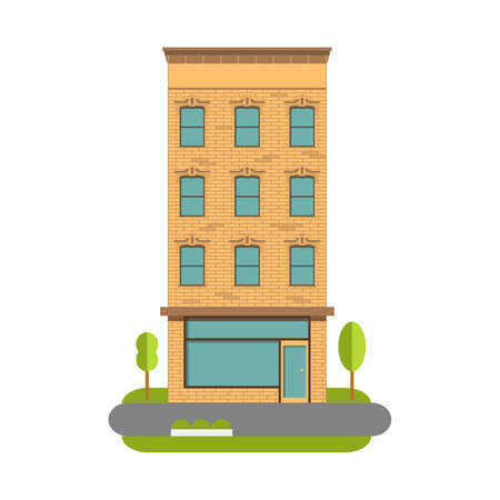 The town house a vector an illustration urban landscape in flat style. Old building.