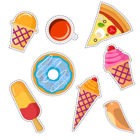 Stickers set of food patch in pop art style in 80s-90s.Vector badges and pins cartoon with a wafer cup of ice cream. Illustration