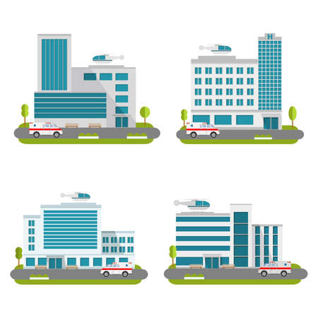 Set of the modern medical centers of rendering ambulance. Hospital with car and helicopter.Ambulatory care.