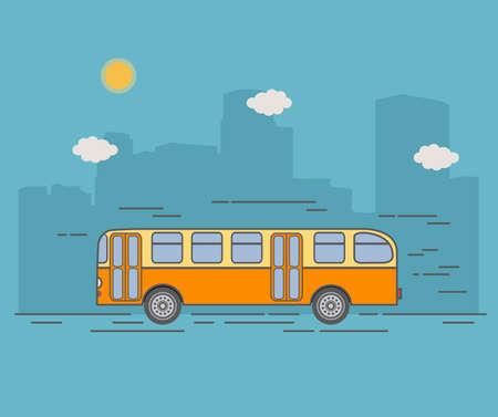 City retro passenger bus. Urban a landscape with skyscrapers.