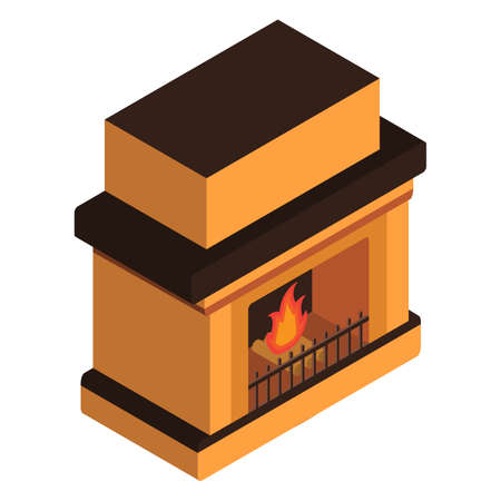 Fireplace Isometric with the burning firewood.
