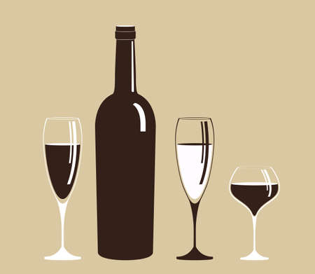 Bottle and glass of wine. Alcoholic drink.Isolated on grey background.