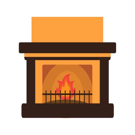 Flat fireplace with the burning firewood.Isolated on white background.