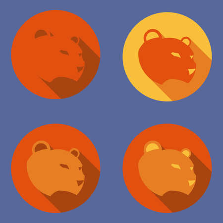 Set of icon with panther. Sports icon concept. Abstract muzzle.cat.