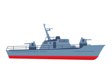 The military boat in flat style battleship. Modern fighting patrol ship. 일러스트