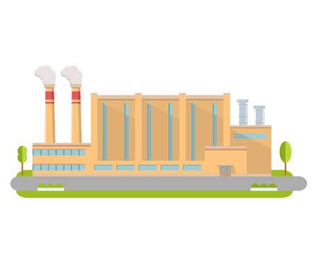 Industrial factory in flat style a vector.Manufacturing engineering brick building. Illusztráció