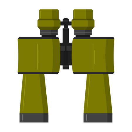Army binoculars. The tourist field-glass for travelers. The field-glass in flat style.