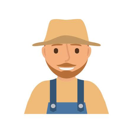 Farmer man character. Overalls straw hat. Иллюстрация