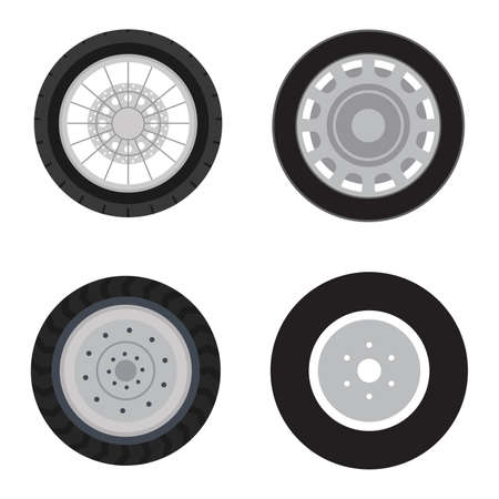 Set of automobile spare parts. A wheel with the tire of a different look and type of disks.