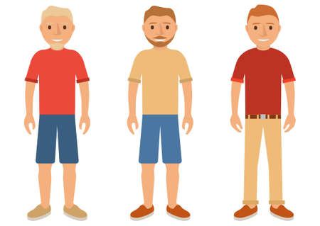 Set of young men in summer clothes in shorts,trousers,a shirt and in boots.