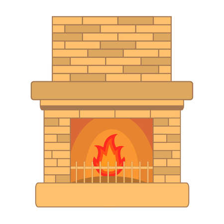 Fireplace stone with the burning firewood. A concept of design of an element of an interior for a country house.