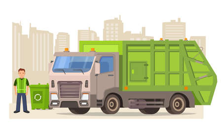 Garbage truck and cleaner. Cleaning the trash can.Urban sanitary loader truck.