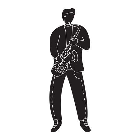 Silhouette man musician plays the saxophone. Symbol for a mobile application or website.