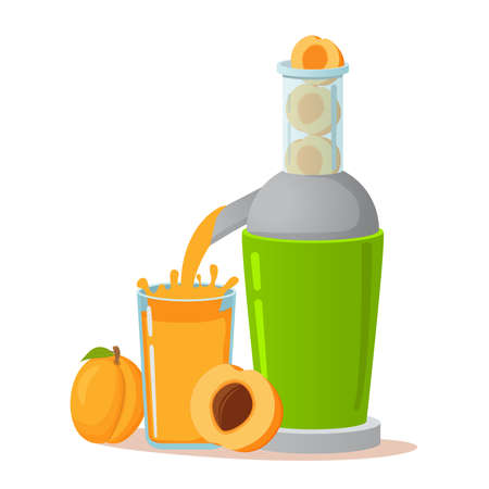 Electric juicer apricot juice. A concept for tropical fruit healthy lifestyle.