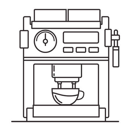 Icon coffee maker. Outline flat illustration vector.Isolated on a white background.