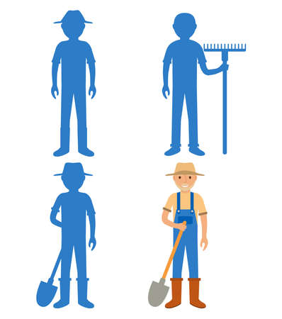 Find the correct shadow farmer. Educational game for children villager. Vecteurs