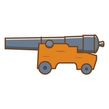 Medieval cannon. Artillery ancient weapon.Design element game for websites.