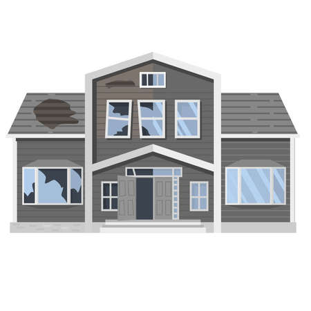 Old run-down house. Traditional suburban cottage.Isolated vector flat cartoon.