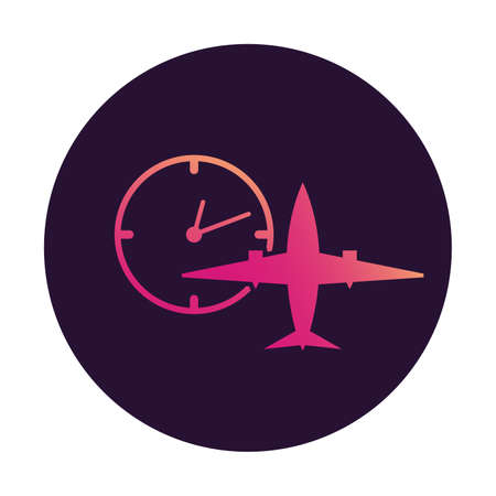 Plane clock icon gradient. Passenger jet. Flight status sign.