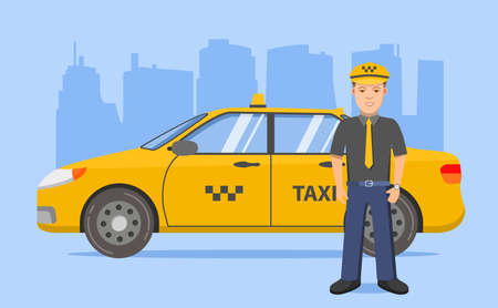 Taxi driver car sedan. Yellow cab. Vehicle city urban.Flat line art vector. 版權商用圖片 - 157078777