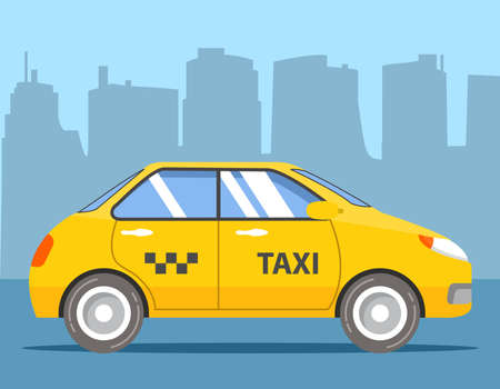 Yellow taxi cab. Car hatchback side view. Flat vector.